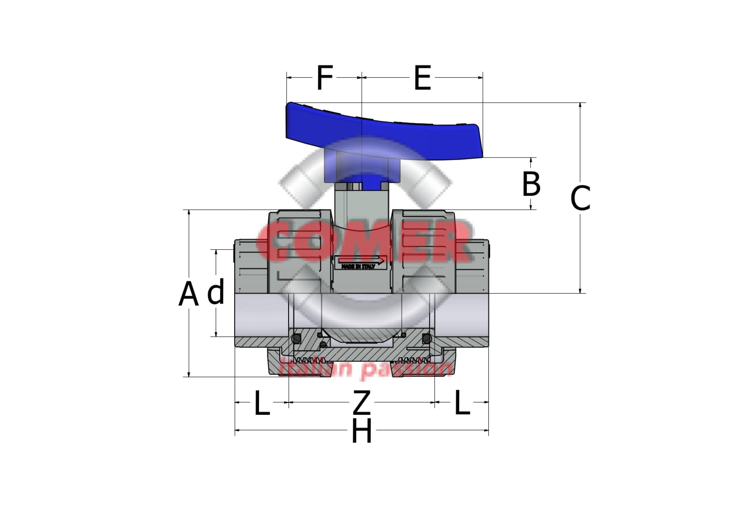 ABVD13-new-handle-spaccato-2 ABVD13 - Valvola a sfera bighiera con attacchi femmina PVC incollaggio BS