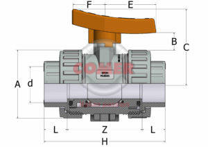 ABVI33_spaccato-1-300x212 ABVI33 - Industry ball valve with female plain ends BS (Viton®)