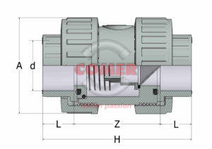 ACVD33 – Check valve BS with female ends for solvent welding (Viton®) - COMER S.p.A.