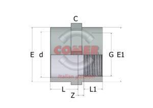ASO14 – Manicotto di passaggio liscio/filettato - COMER S.p.A.