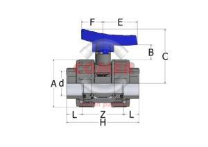 BVD13_NEW_HANDLE-spaccato-1024x724-1-300x212 BVD13 - Double union ball valve with female plain ends BS