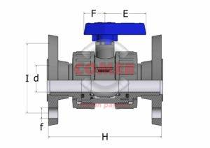 BVD19 - Double union ball valve with flanged ends