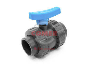 BVD40 UPVC Double union ball valve with adjustable seat and female plain ends COMER S.p.A. made in Italy - COMER S.p.A.