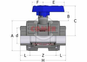 BVD43 – Double union ball valve with adjustable seat and female plain ends BS - COMER S.p.A.