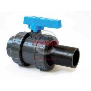 BVD51-S – Double union ball valve with one female threaded end and one long spigot PE plain end - COMER S.p.A.