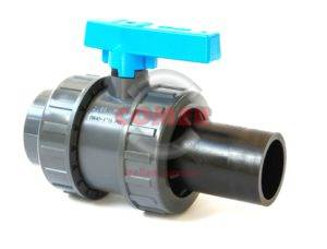 BVD50-S – Double union ball valve with one plain femaile and end and one long spigot PE plain end - COMER S.p.A.