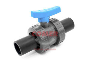 UPVC Double union ball valve with long spigot PE plain ends COMER S.p.A. made in Italy - COMER S.p.A.