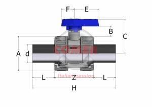 BVD50 – Double union ball valve with long spigot PE plain ends - COMER S.p.A.
