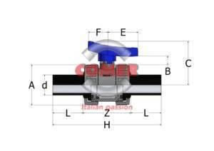 BVD50 - Double union ball valve with long spigot PE plain ends