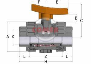 BVI33 - Industry ball valve with female plain ends  BS (Viton®)