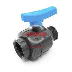 BVS15 UPVC Single union ball valve with female/male threaded ends COMER S.p.A. made in Italy - COMER S.p.A.