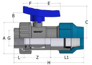 BVS19 - Valvola a sfera monoghiera con attacchi femm.filett./giunto rapido per tubo PE