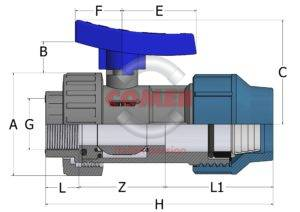 BVS19spaccato_new_handle-300x212 BVS19 - Single union ball valve with female threaded end/quick coupling for PE pipe