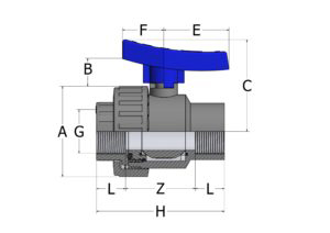 BVS41 – Single union ball valve with adjustable seat and female threaded ends - COMER S.p.A.