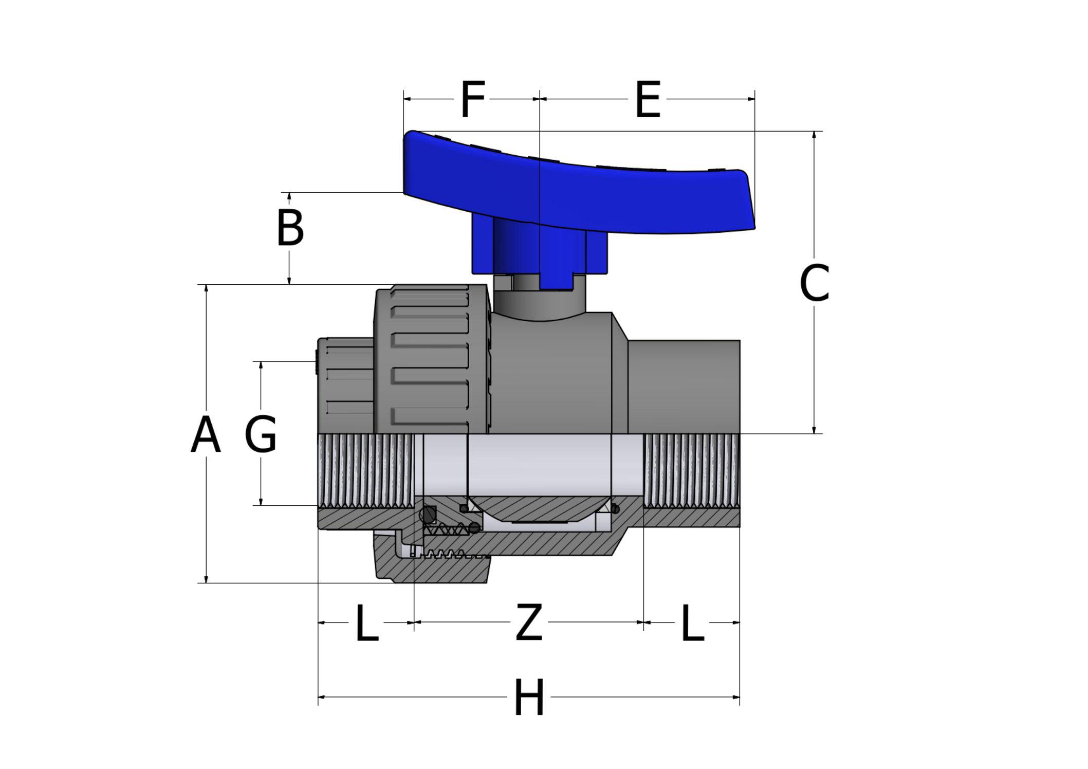 BVS41 - Valvola a sfera monoghiera con supporto registrabile e attacchi femmina filettati