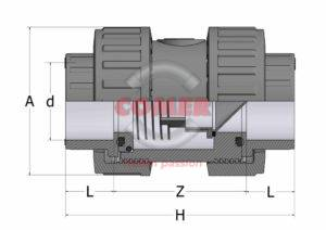 CVD13 check valve split drawing COMER SPA - COMER S.p.A.
