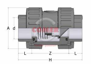 CVD33_spaccato-1-300x212 CVD33 - Check valve with female plain ends BS (Viton®)