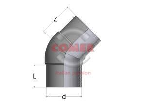 HEL – Long spigot 45° bend PPH - COMER S.p.A.