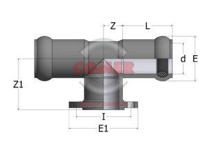 RTE00 – 90° Reduced tee double socket/flanged central branch drilled UNI 2223 - COMER S.p.A.