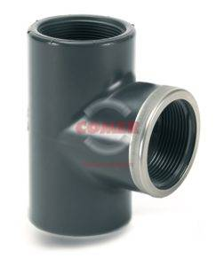 TE47-243x300 TE47 - 90° Tee plain with central branch threaded with metal reinforcing ring