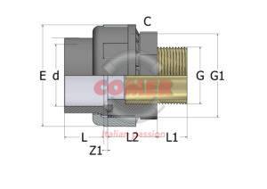 US74 – Bocchettone con O-ring incollaggio femmina/inserto in ottone filettato maschio - COMER S.p.A.