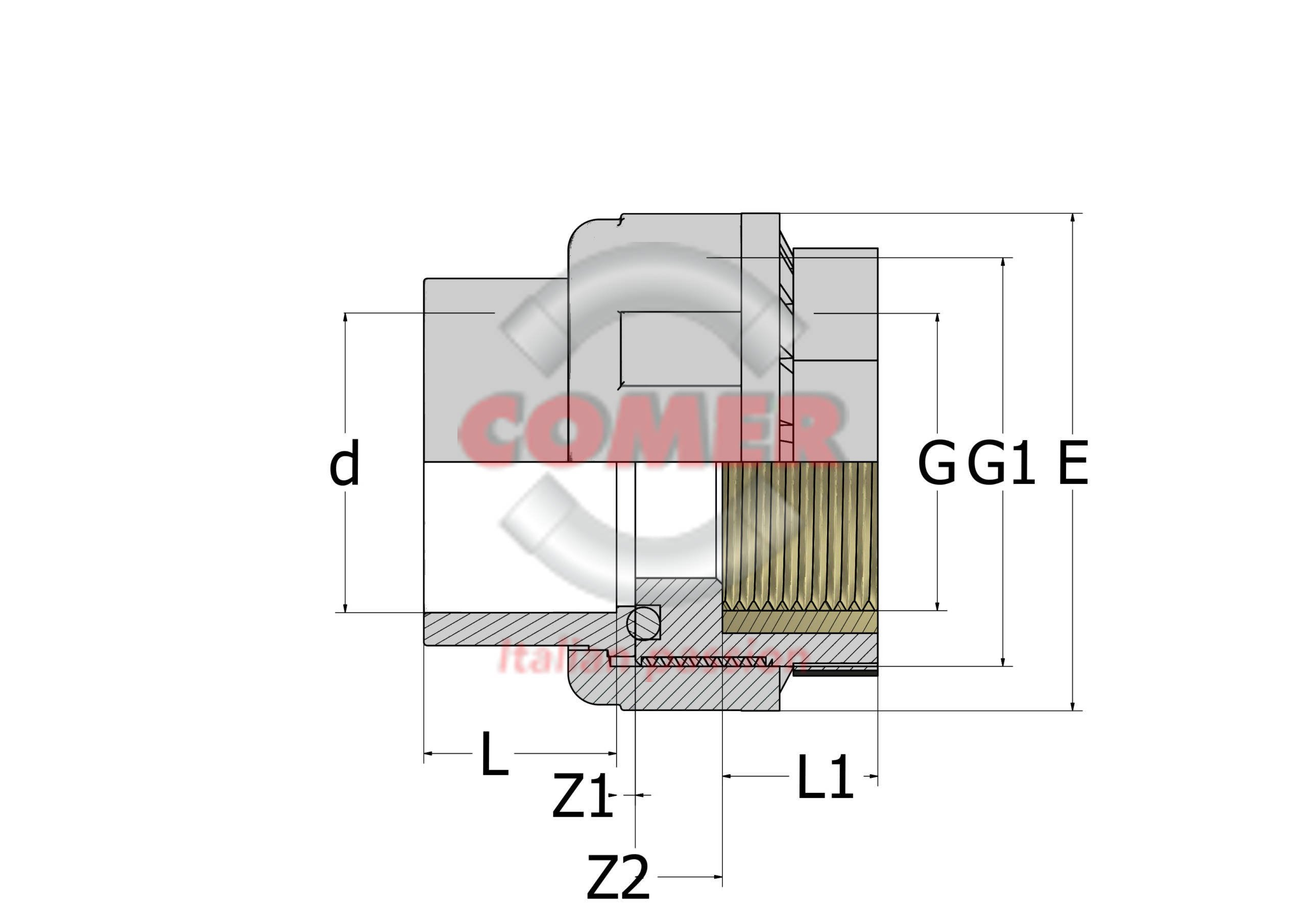 C-UN72 - Union with O-ring female plain/brass insert female threaded in C-PVC