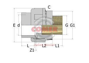 C-US72-300x212 C-US72 - Union with O-ring female plain/brass insert male threaded in C-PVC