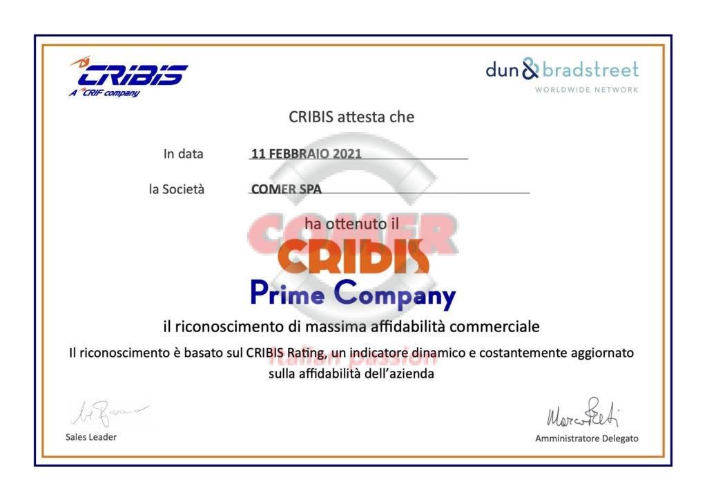 Certificato CRIBIS Prime Company COMER S.p.A. - COMER S.p.A.
